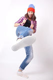 Teenage girl in torn jeans Royalty Free Stock Photography