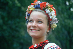 A teenage girl in traditional Slavic costume Royalty Free Stock Photos
