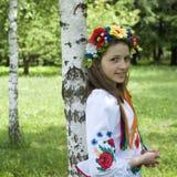 Teenage girl in traditional Ukrainian costume Stock Photography