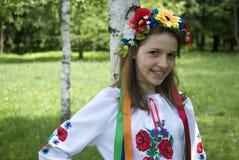 Teenage girl in traditional Ukrainian costume Royalty Free Stock Photography
