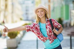 Teenage girl travel in Europe. Tourism and Vacation concept Stock Photos