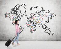 Teenage girl travelling around the world Royalty Free Stock Images