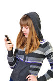 Teenage girl typing sms royalty free stock image