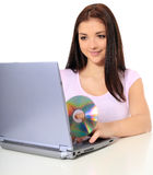 Teenage girl using laptop Royalty Free Stock Photo