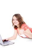 Teenage girl using laptop Stock Photos