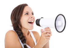 Teenage girl using megaphone Stock Image