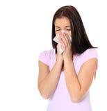 Teenage girl using tissue Royalty Free Stock Image