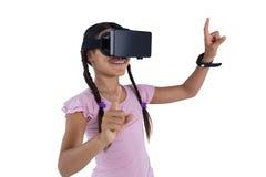 Teenage girl using virtual reality headset Stock Photography