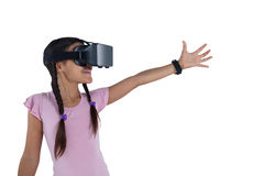 Teenage girl using virtual reality headset Royalty Free Stock Photography