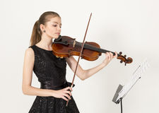 Teenage girl with viola. Portrait of young beautiful teenage girl with viola stock image