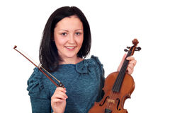 Teenage girl with violin Royalty Free Stock Photography