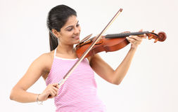 Teenage girl with the violin Royalty Free Stock Photo