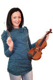 Teenage girl with violin on white Stock Photo