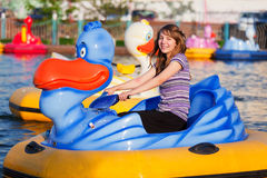 Teenage girl in a water park Royalty Free Stock Images