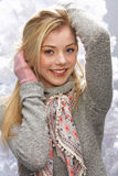 Teenage Girl Wearing Cap And Knitwear In Studio Royalty Free Stock Images