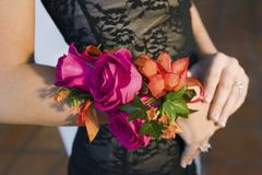 Teenage girl wearing corsage close-up of flowers Stock Photography