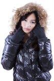 Teenage girl wearing fur jacket Royalty Free Stock Image