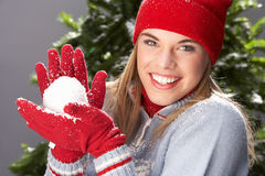 Teenage Girl Wearing Knitwear In Studio stock image