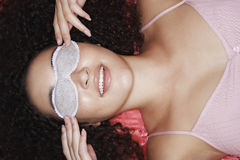 Teenage Girl Wearing Sleep Mask Stock Images