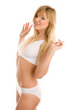 Teenage girl wearing underclothes Stock Photo