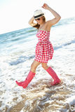 Teenage Girl Wearing Wellington Boots Stock Photo