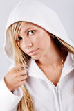 Teenage girl wearing white hoodie Royalty Free Stock Photos