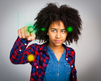 Teenage Girl With Whacky Afro Hair Playing A Virtual Game royalty free stock photos