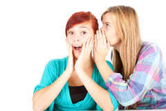 Teenage girl whispering in friend`s ear Royalty Free Stock Photos