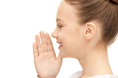 Teenage girl whispering gossip Stock Photo
