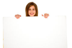 Teenage girl with white panel. On the white background Royalty Free Stock Photography