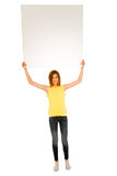 Teenage girl with white panel Royalty Free Stock Image