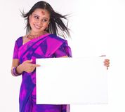 Teenage girl with the white placard Royalty Free Stock Images