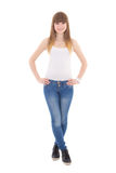 Teenage girl in white t-shirt isolated on white Royalty Free Stock Photo