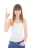 Teenage girl in white t-shirt showing idea sign isolated on whit Stock Photography
