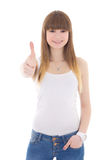 Teenage girl in white t-shirt thumbs up isolated on white Stock Photos