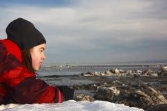 Teenage girl in winter royalty free stock image