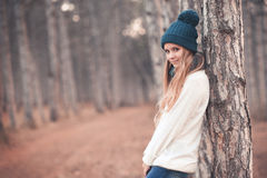 Teenage girl in winter clothes stock photo