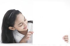 Teenage Girl With A Blank Placard Stock Photography