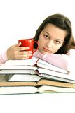 Teenage Girl With Books And Tea Royalty Free Stock Images