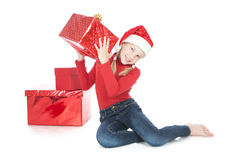 Teenage Girl With Red Gift On White Royalty Free Stock Photos