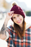 Teenage girl with wool cap Stock Photo