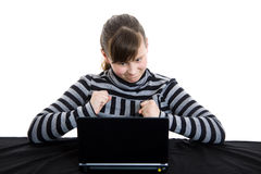 Teenage girl working with laptop. Young teenage girl working with laptop Royalty Free Stock Photos
