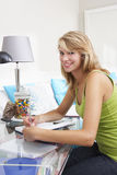 Teenage Girl Writing In Diary Royalty Free Stock Photos