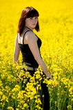 Teenage girl on yellow field. In spring Royalty Free Stock Images