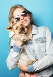 Teenage girl with Yorkshire Terrier Royalty Free Stock Image
