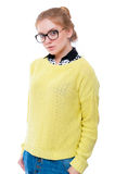 Teenage girl or young woman in glasses with cell phone Royalty Free Stock Photography