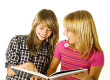 Teenage Girls with Book Stock Photos