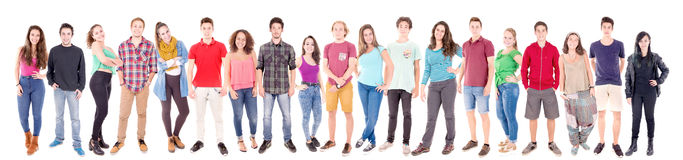 Teenage girls and boys. Isolated in white background stock photos