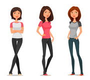 Teenage girls in casual fashion Royalty Free Stock Photo