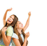 Teenage Girls Dancing. Happy Teenage Girls Dancing. Beauty Teenagers Having Fun Royalty Free Stock Photos